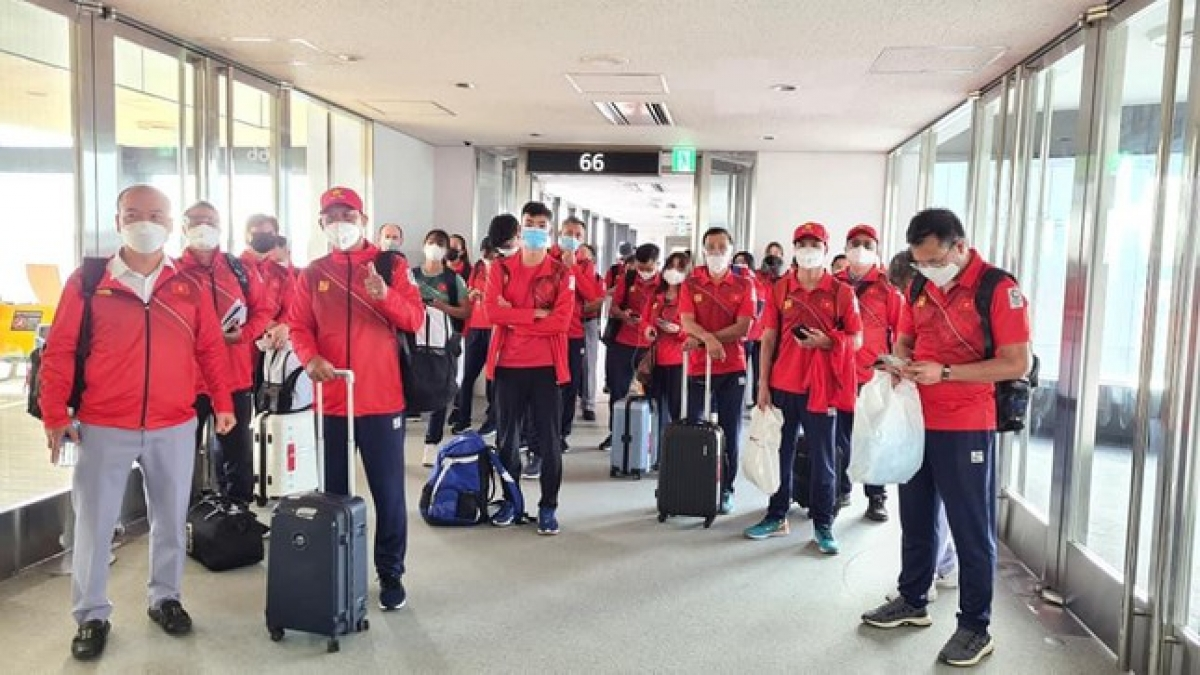 The Vietnamese Olympic Team touch down at Narita International Airport in Japan on July 19 to begin their journey at the Tokyo games.
