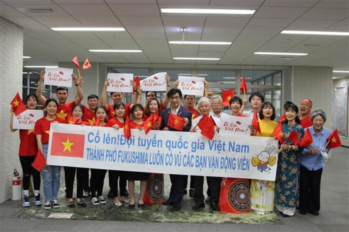 At a ceremony inFukushima to show support to the Vietnamese team