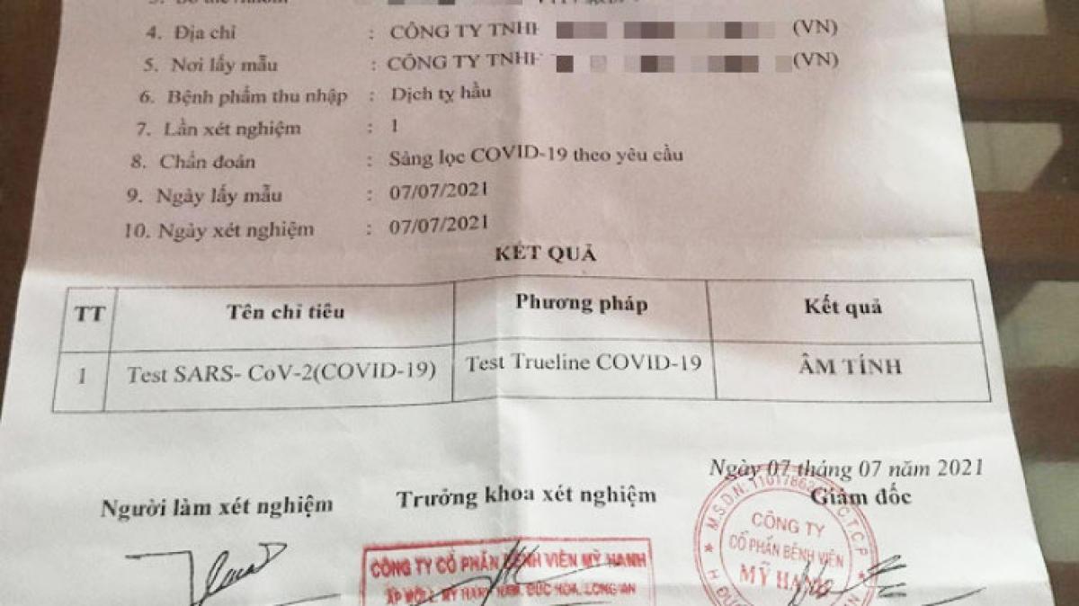 Một công nhân không đi xét nghiệm nhưng vẫn có giấy xét nghiệm Covid-19 âm tính