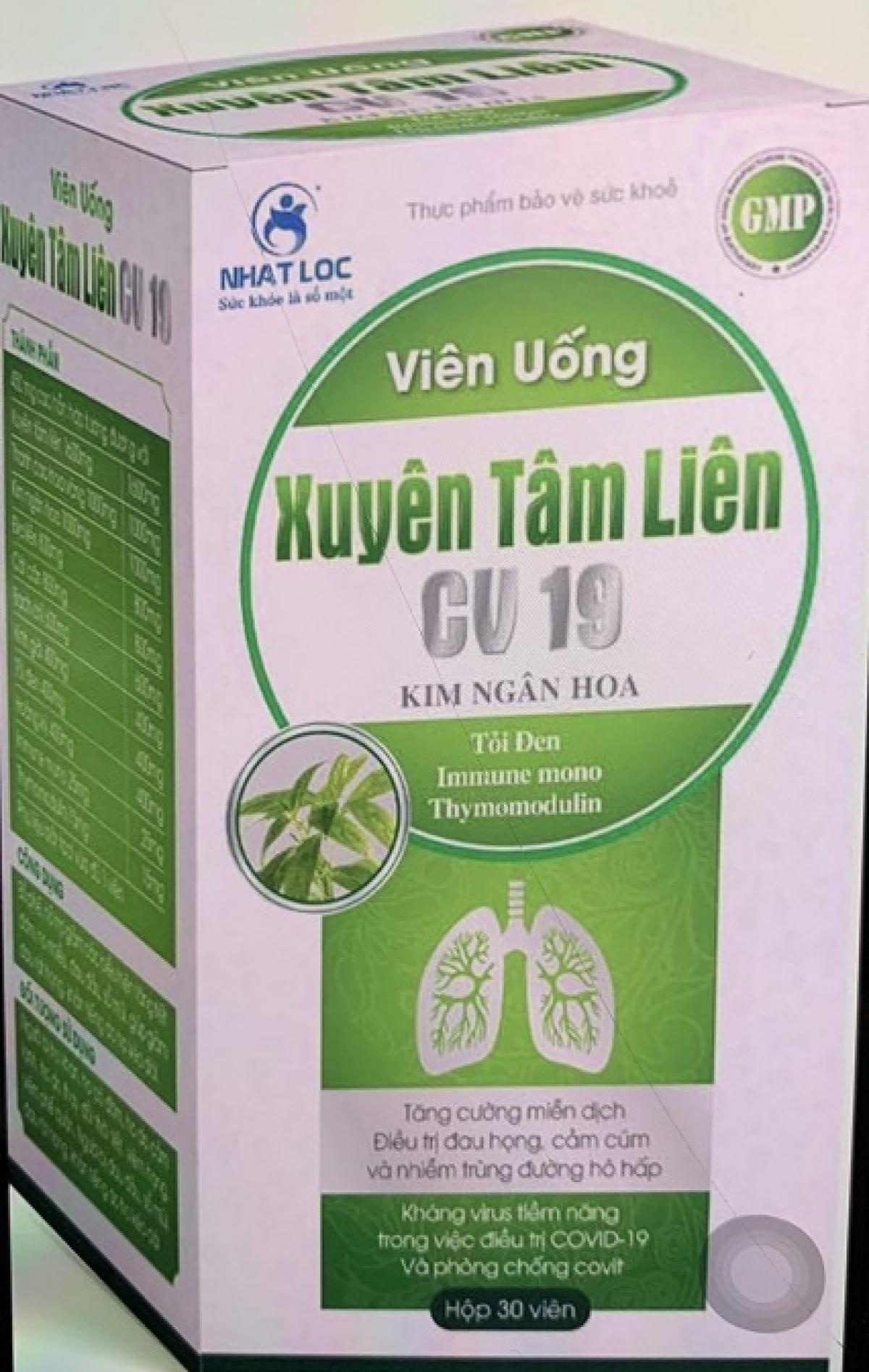 Sản phẩm xuyên tâm liên quảng cáo công dụng kháng COVID-19 này là giả mạo. Ảnh:Bộ Y tế.