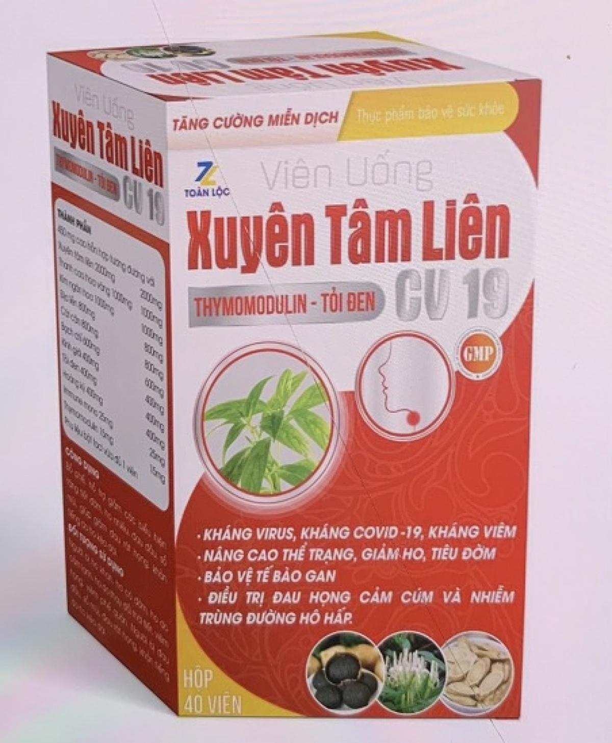 Sản phẩm xuyên tâm liên quảng cáo công dụng kháng COVID-19 này là giả mạo. Ảnh: Bộ Y tế.