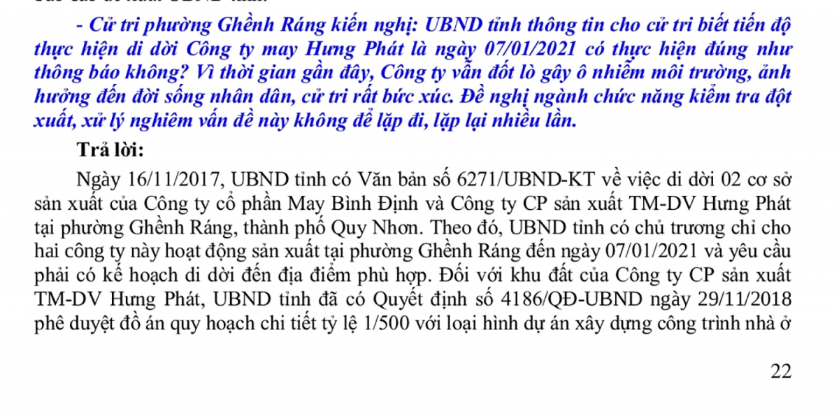 Ý kiến cử tri gửi HĐND tỉnh Bình Định khóa XII về việc phải di dời nhà máy.