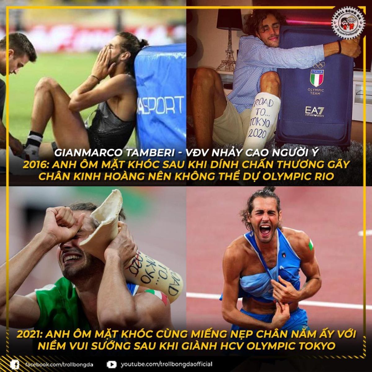Nghị lực phi thường giúp VĐV Italia giành HCV Olympic Tokyo nội dung nhảy sào nam. (Ảnh: Troll bóng đá).