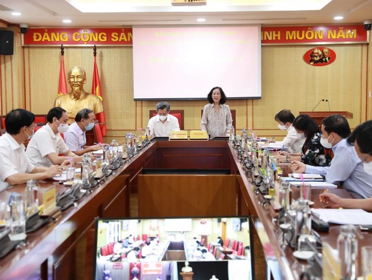 Bà Trương Thị Mai họp Ban Chỉ đạo xây dựng Đề án trình Hội nghị Trung ương 6 (khoá XIII)