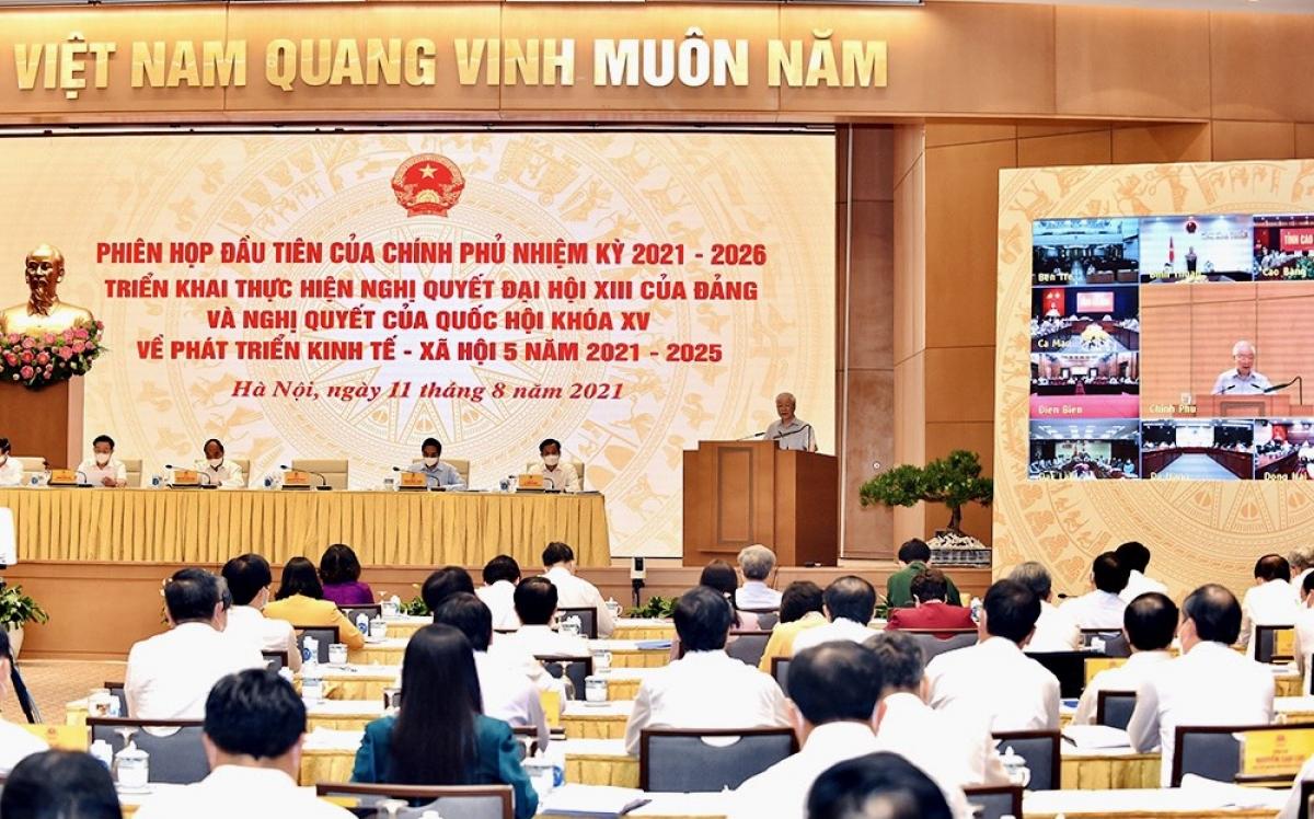 Phiên họp đầu tiên của Chính phủ nhiệm kỳ 2021-2026 được tổ chức theo hình thức trực tuyến.