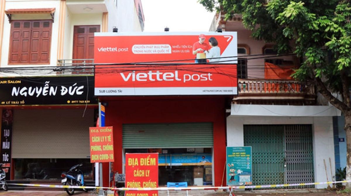 Chi nhánh Viettel Post huyện Lương Tài- Bắc Ninh, nơi có nhân viên làm lây lan dịch bệnh cho nhiều người.
