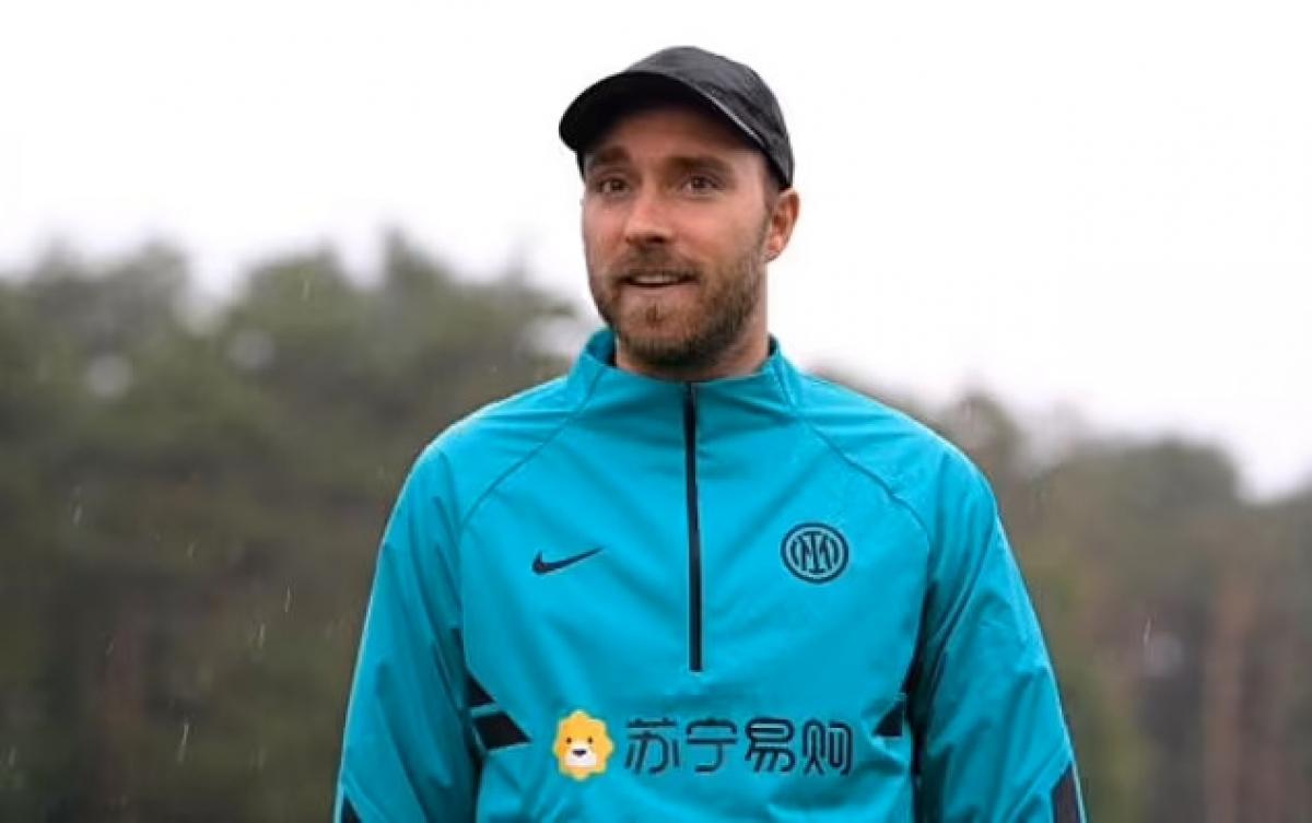 Eriksen khi trở lại tập trung cùng Inter Milan. (Ảnh: Inter).
