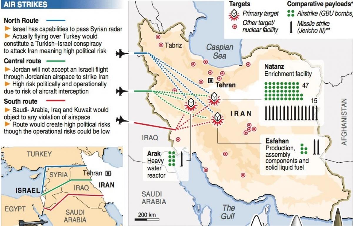 Israel được cho sẽ sử dụng không quân và tên lửa tấn công các cơ sở quân sự, dầu mỏ và hạt nhân của Iran; Nguồn: loralucero.wordpress