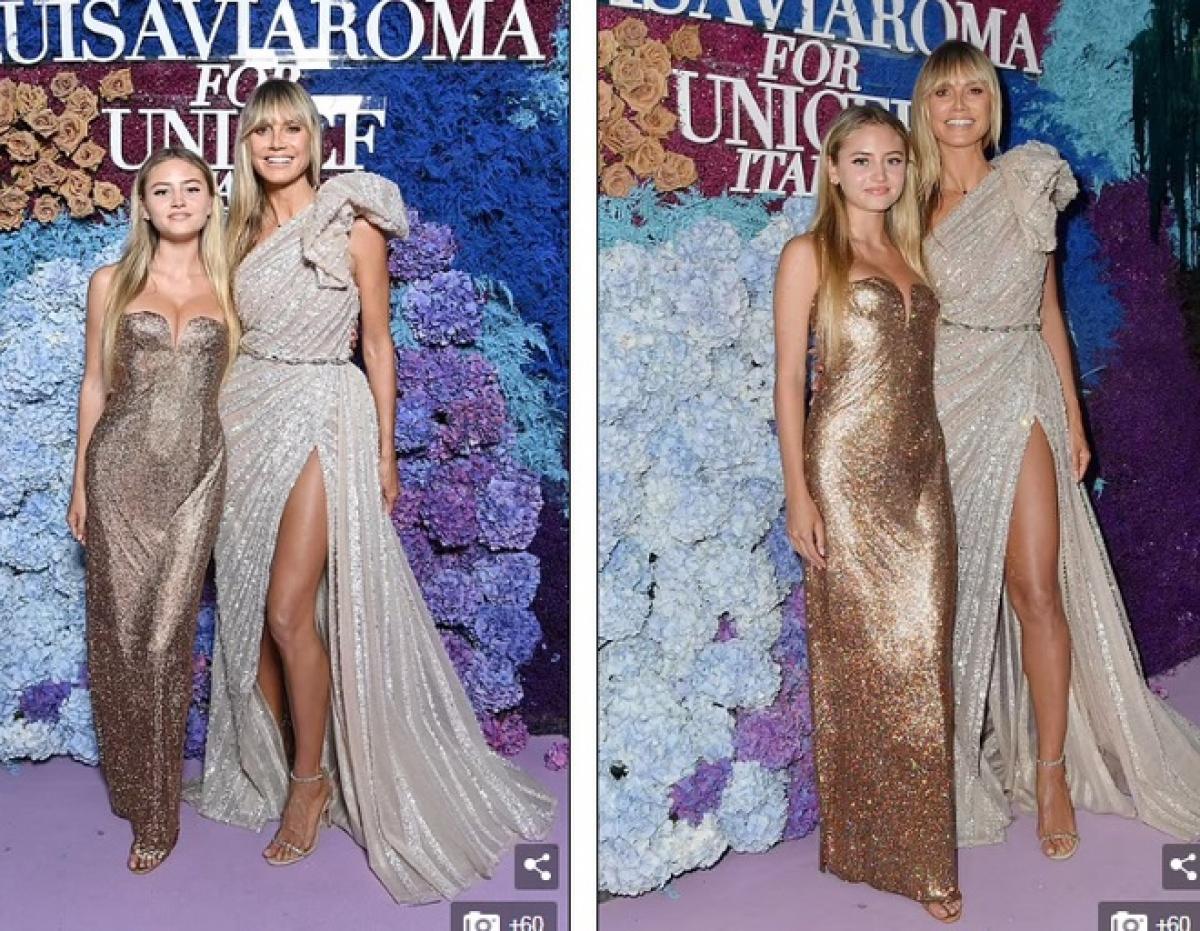 Heidi Klum đưa con gái lớn Leni Klum (17 tuổi) cùng tham dự bữa tiệc này. Cô bé được nhận xét thừa hưởng nhiều nét xinh đẹp từ người mẹ siêu mẫu.