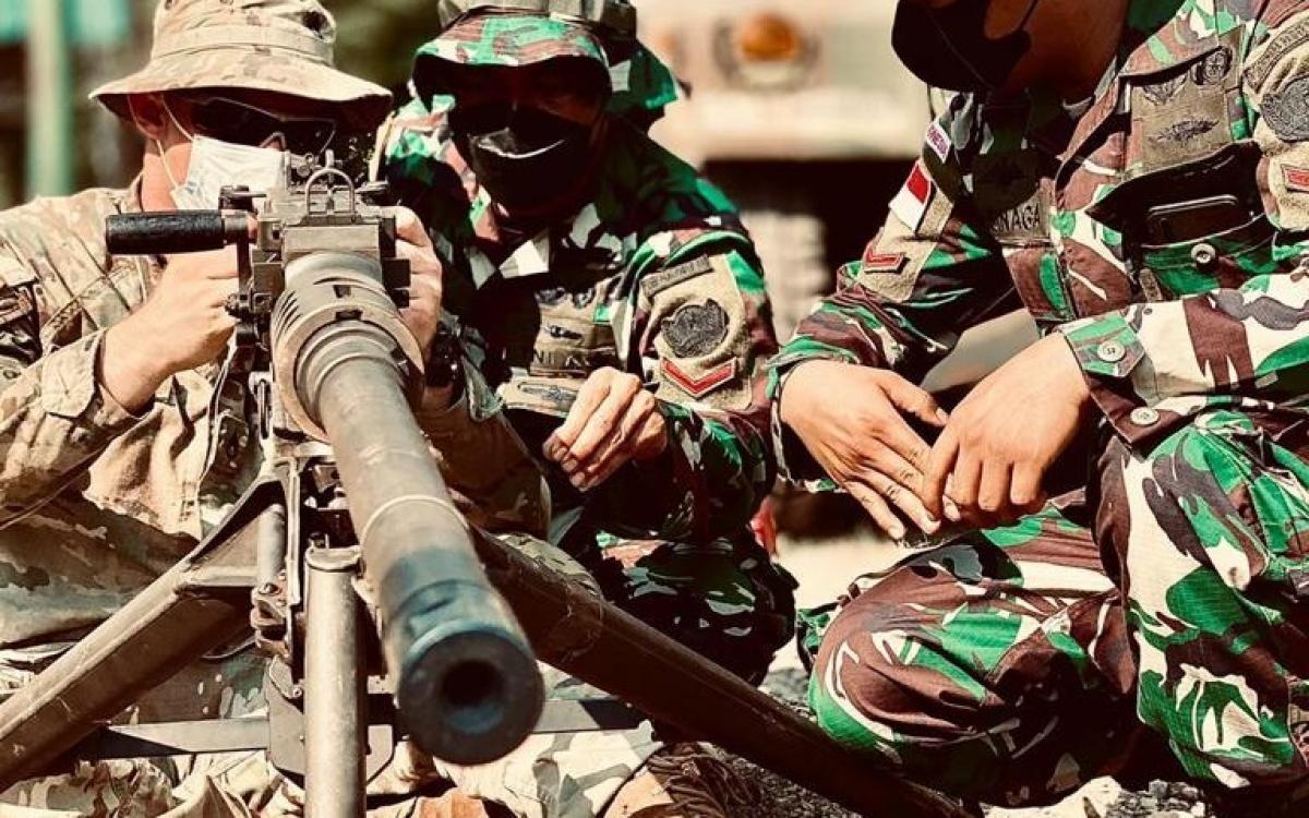 """Binh si My và Indonesia tham gia tập trận """"Lá chắn Đại bàng"""". Ảnh: ĐSQ Mỹ tại Indonesia."""