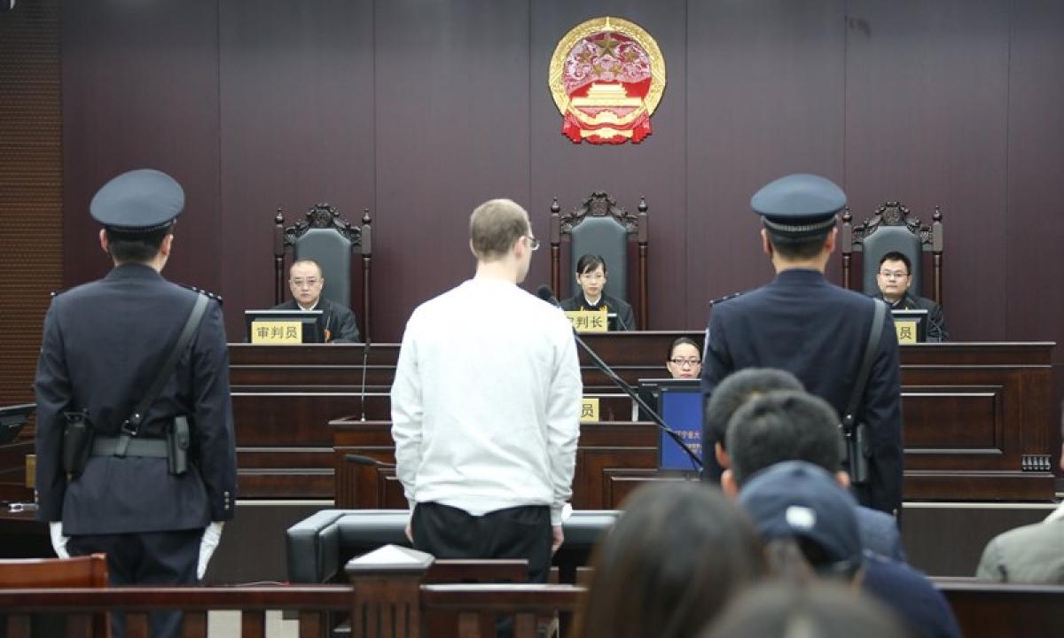 Phiên tòa xét xử công dân Canada Schellenberg tại Đại Liên. Ảnh: Toà án Nhân dân Trung cấp Đại Liên