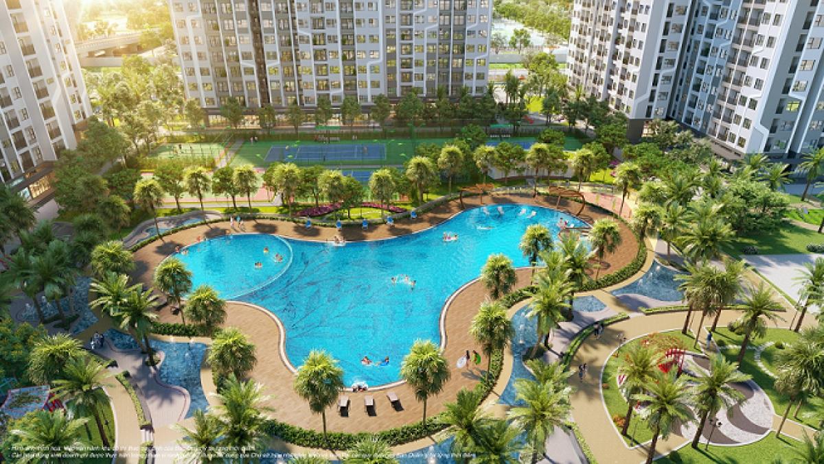 Phân khu The Miami lấy cảm hứng từ thiên đường nghỉ dưỡng Miami (Mỹ), mang phong cách sống nghỉ dưỡng nhiệt đới sôi động với bể bơi ngoài trời rộng tơi 1000m2.
