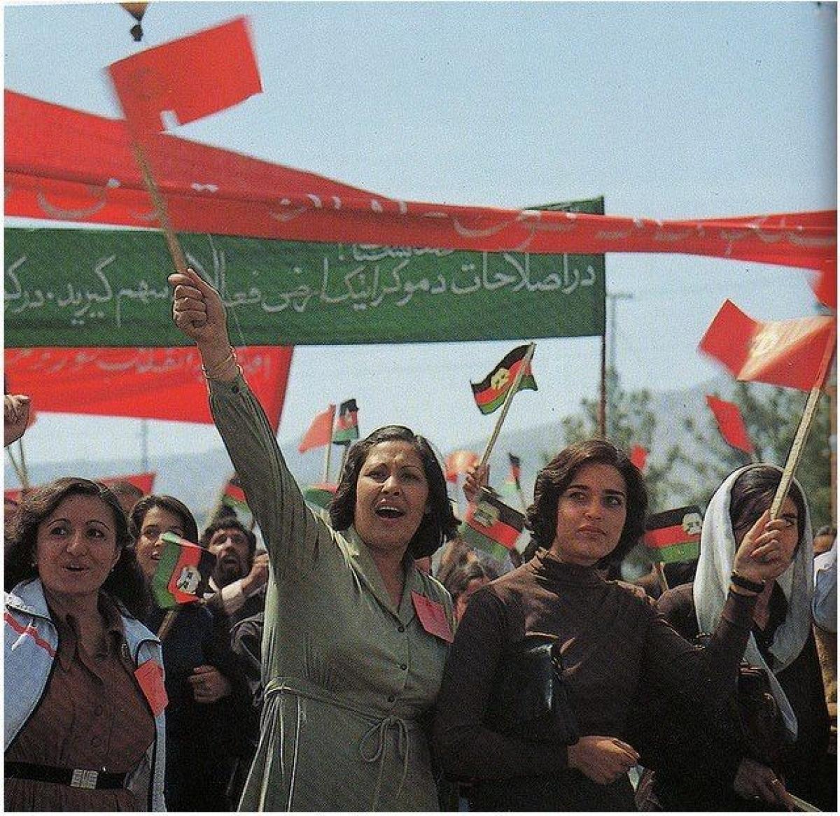 Những người phụ nữ Afghanistan xuống đường biểu tình năm 1980.