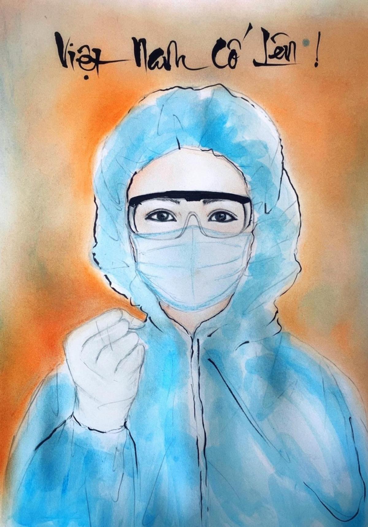 Bức ảnh thể hiện sự quyết tâm của nhân viên y tế trong cuộc chiến chống lại đại dịch.