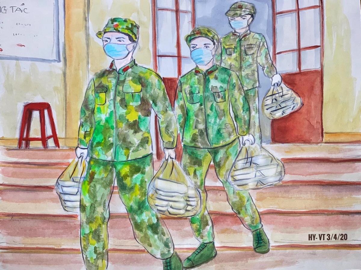 Cán bộ, chiến sỹ lực lượng vũ trang hỗ trợ người dân khó khăn.