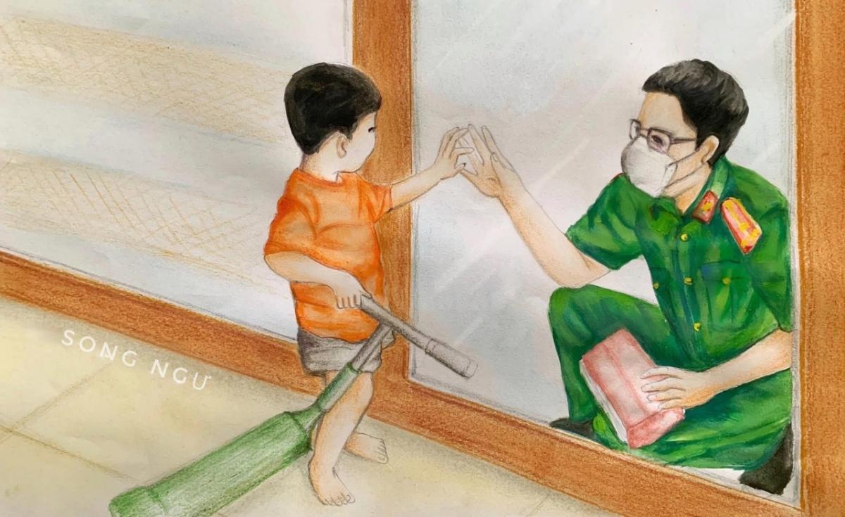 Hình ảnh người cha về thăm con qua cửa kính.