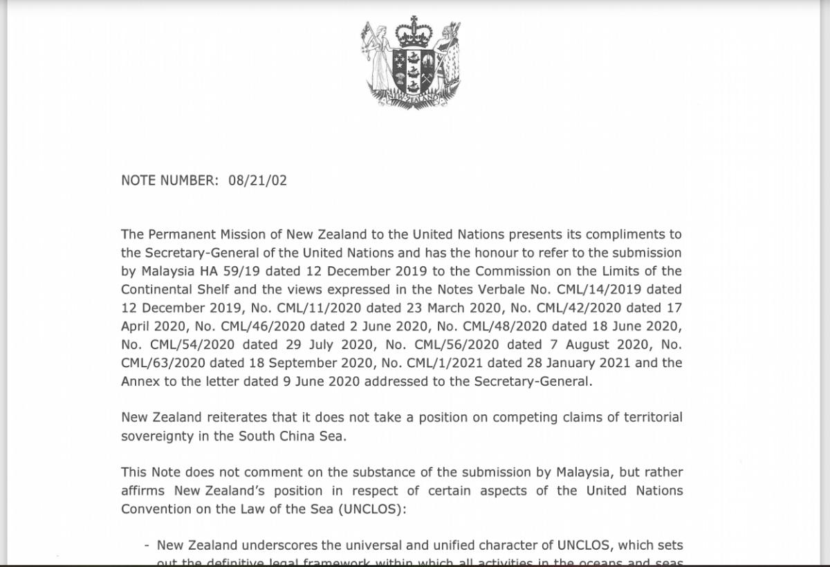 New Zealand gửi công hàm lên LHQ bác bỏ yêu sách quyền lịch sử ở Biển Đông