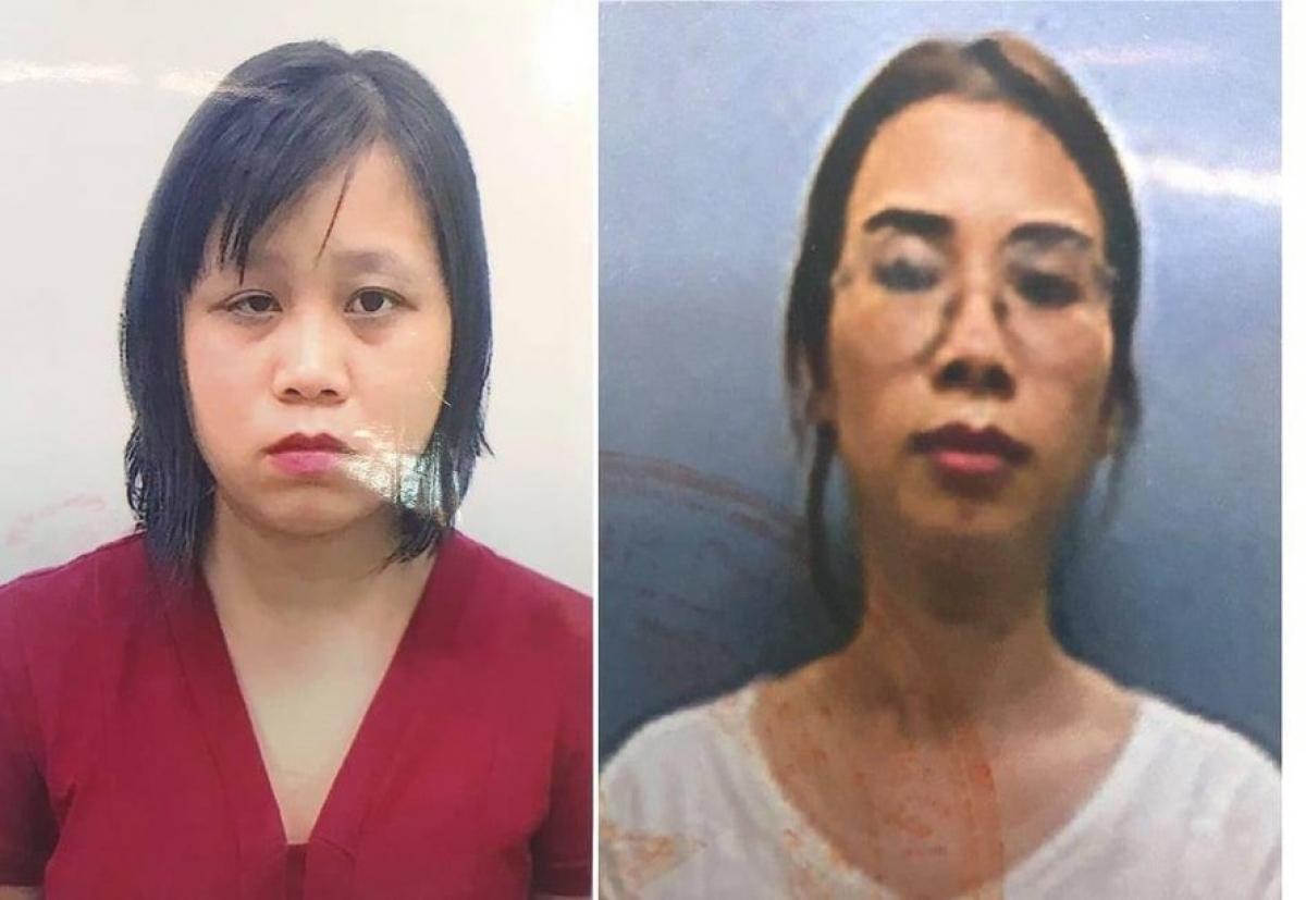 Bị can Đinh Thị Vân (trái) và Nguyễn Ngọc Diệp