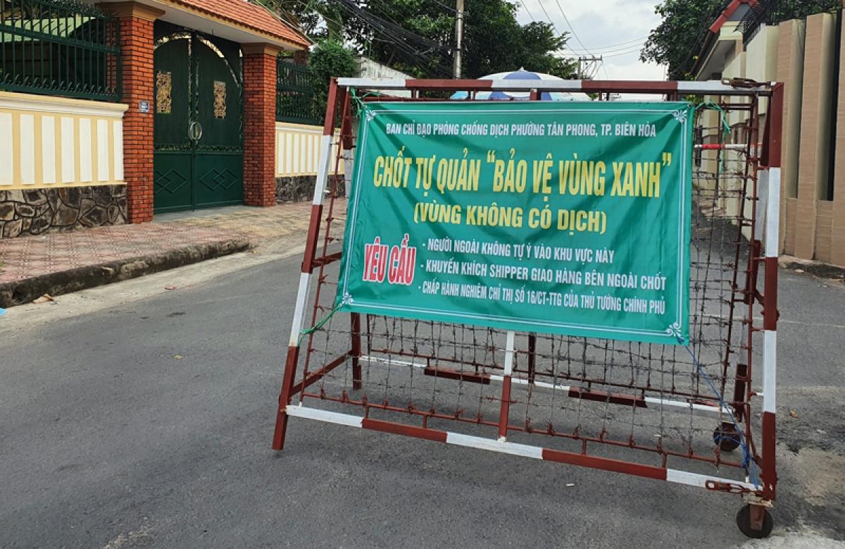 """Chốt kiểm soát """"vùng xanh"""" tại khu phố 4, phường Tân Phong, TP Biên Hoà (Ảnh: Trung tâm Kiểm soát bệnh tật tỉnh Đồng Nai)"""