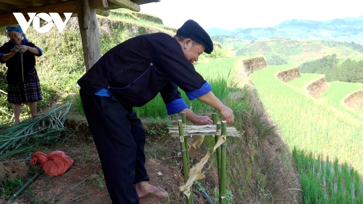 Locals prepare to hold their rituals on the terraced fields.