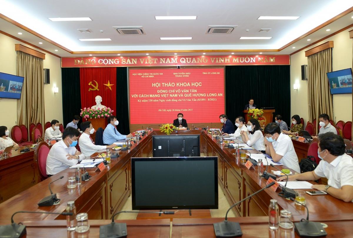 """Hội thảo trực tuyến với chủ đề """"Đồng chí Võ Văn Tần với cách mạng Việt Nam và quê hương Long An""""."""