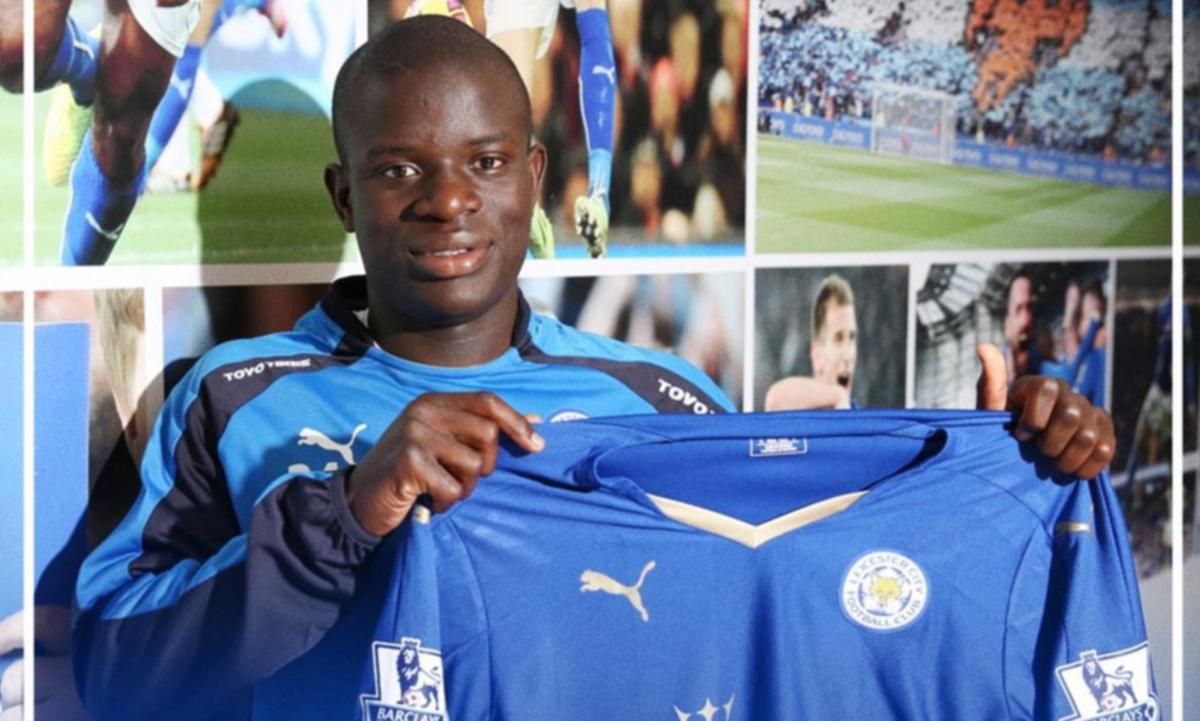 Kante trong ngày ra mắt Leicester 6 năm trước. (Ảnh: Getty).