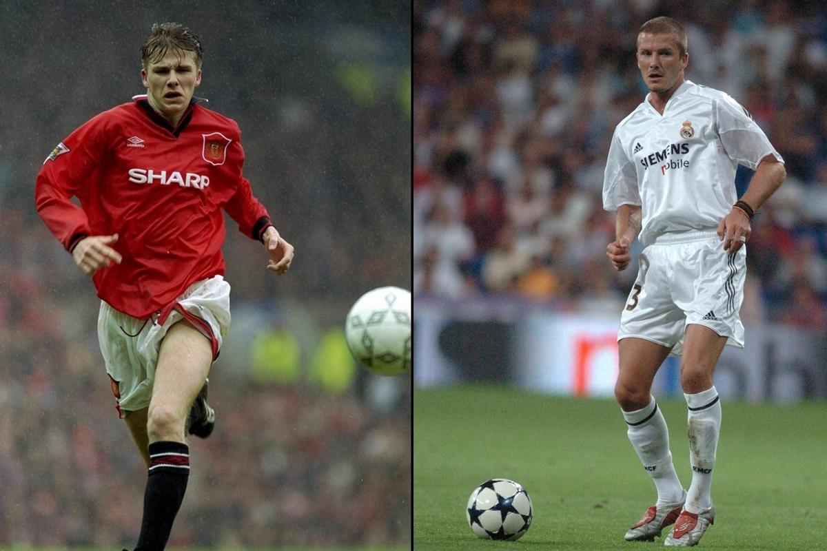David Beckham trở thành siêu sao bóng đá ở MU (1992-2003) sau đó gia nhập dải ngân hà của Real Madrid (2003-2007).