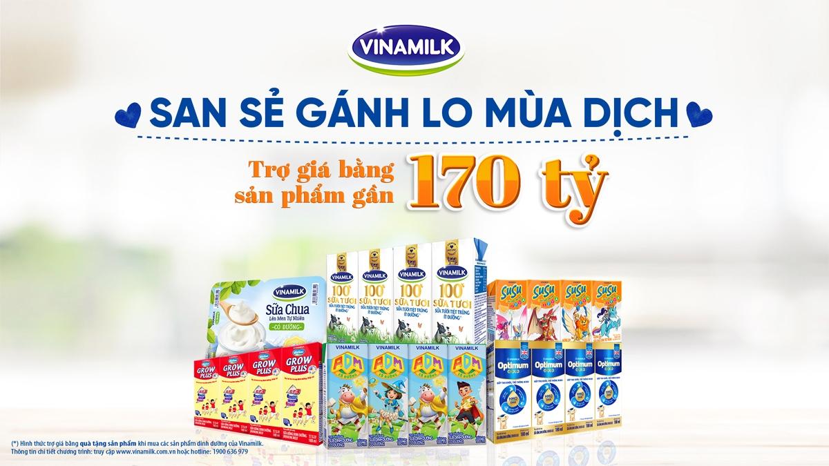 """Chương trình """"San sẻ gánh lo mùa dịch"""" được Vinamilk thực hiện trong tháng sinh nhật, với tổng giá trị trợ giá bằng sản phẩm gần 170 tỷ đồng."""