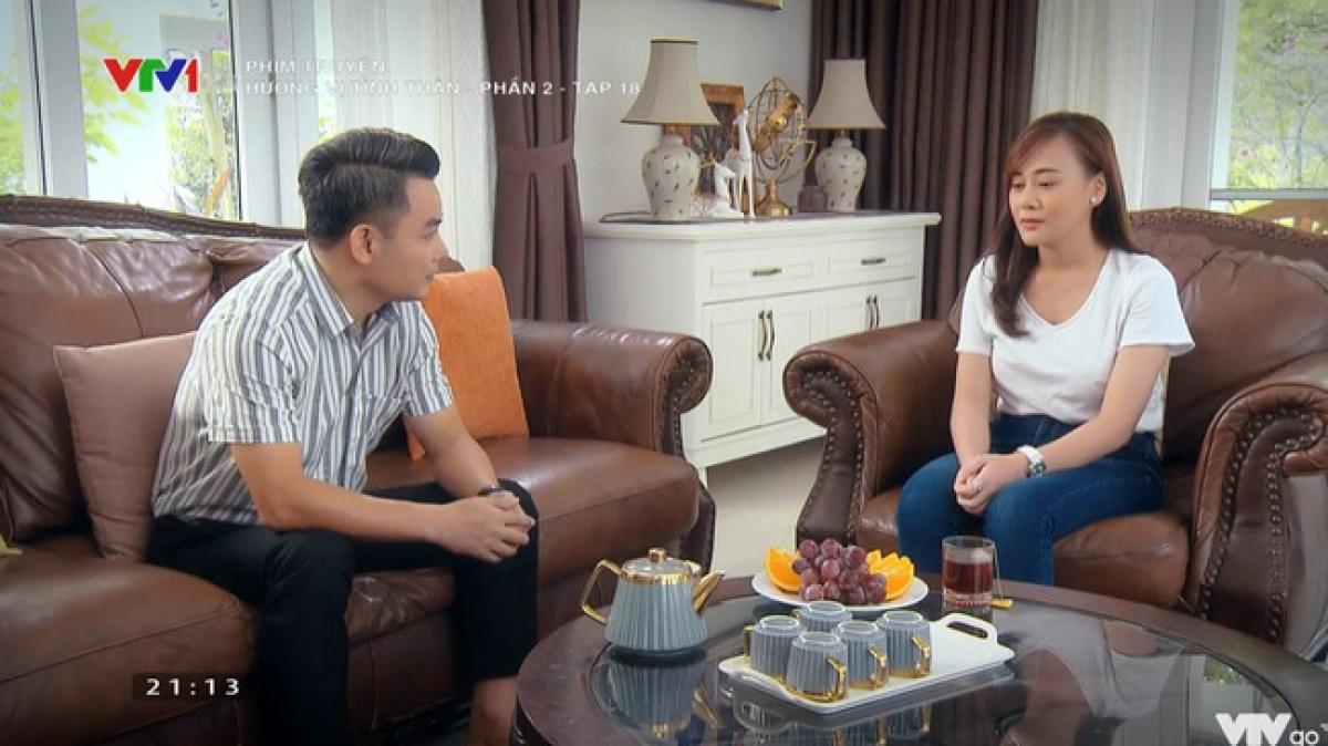 Cảnh ông Khang xin lỗi Nam ở'Hương vị tình thân' tập 89.