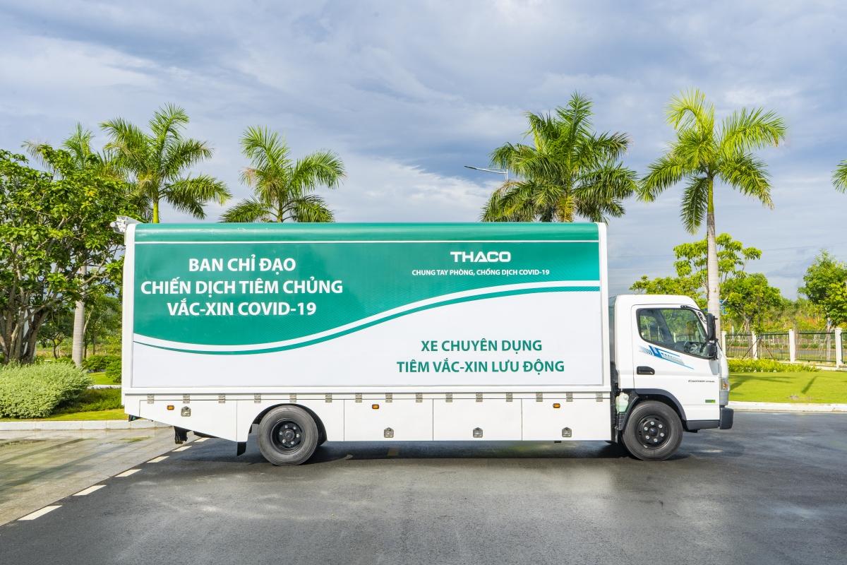 Trong đợt trao tặng xe cho Bộ Y tế vừa qua, Thaco đẫ trao 126 xe chuyên dụng với 63 xe tải chuyên dụng vận chuyển vaccine Covid-19 và 63 xe phục vụ tiêm chủng lưu động.