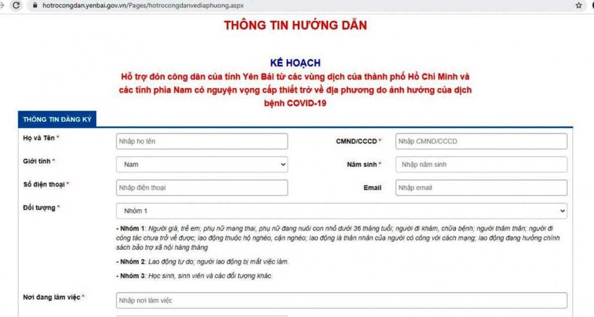 Tỉnh Yên Bái đã sẵn sàng tiếp nhận thông tin đăng ký người dân qua các website.