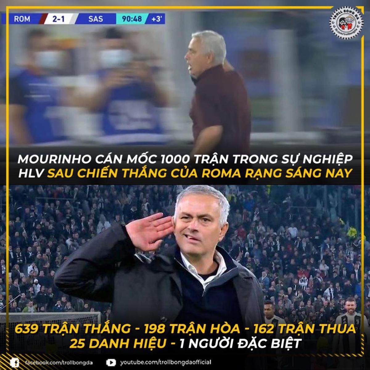 HLV Mourinho cán mốc 1000 trận đấu trong sự nghiệp huấn luyện. (Ảnh: Troll bóng đá).