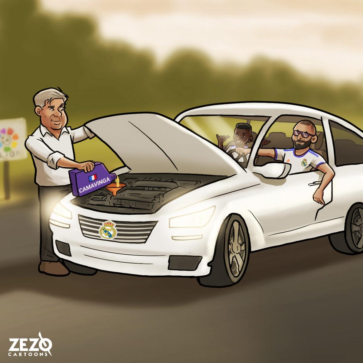 """HLV Ancelotti """"nâng cấp"""" thành công chiếc xe Real Madrid. (Ảnh: Zezo Cartoons)."""