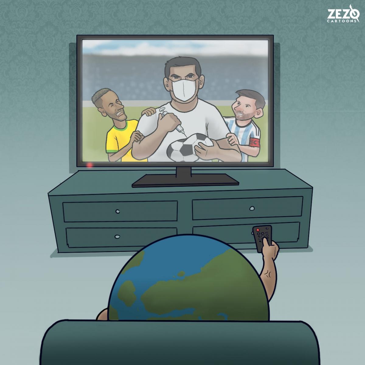 """Trận đấu Brazil - Argentina bị hoãn vì lý do """"không tưởng"""". (Ảnh: Zezo Cartoons)."""
