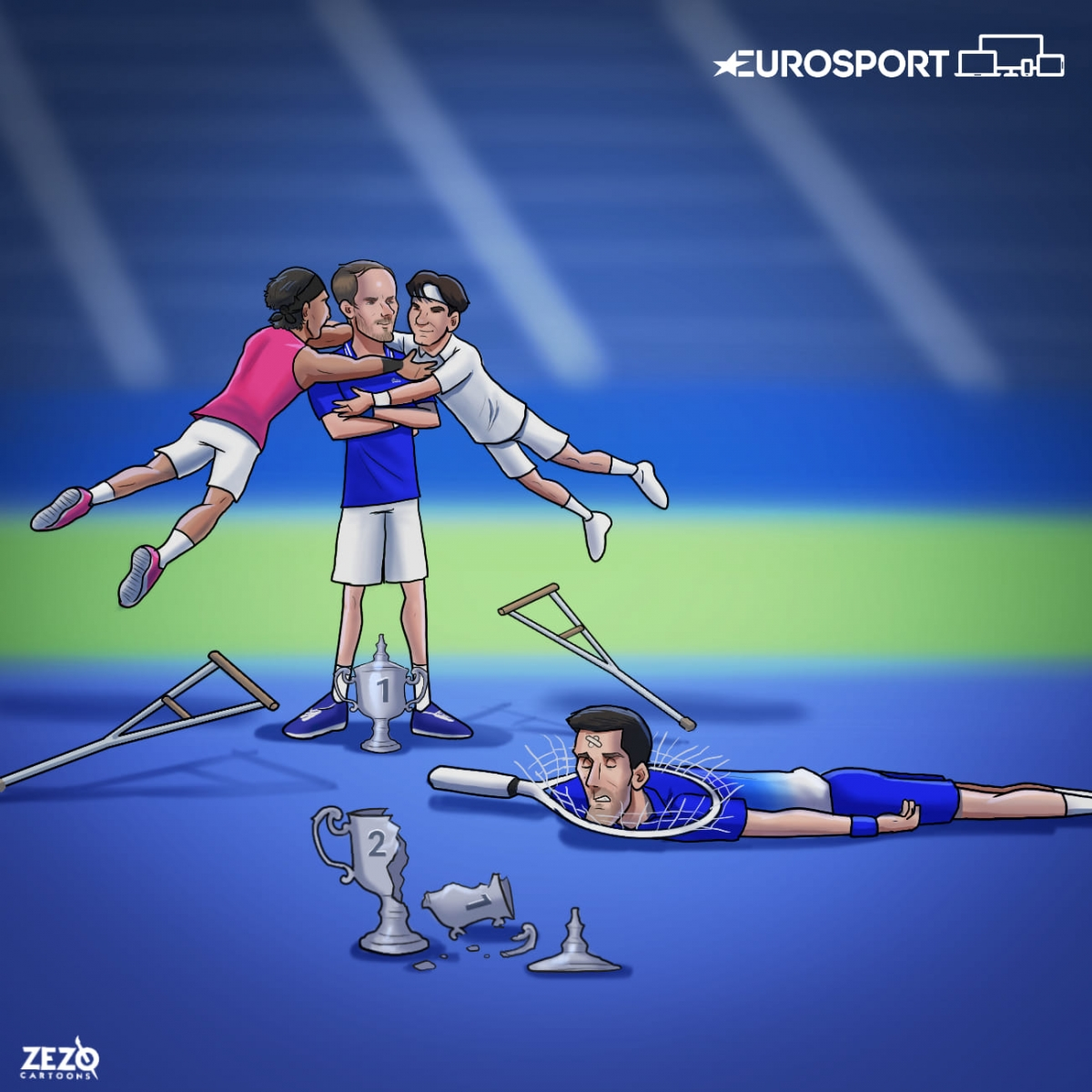 Nadal và Federer cảm ơn Medvedev đã ngăn cản được Djokovic. (Ảnh: Zezo Cartoons)./.