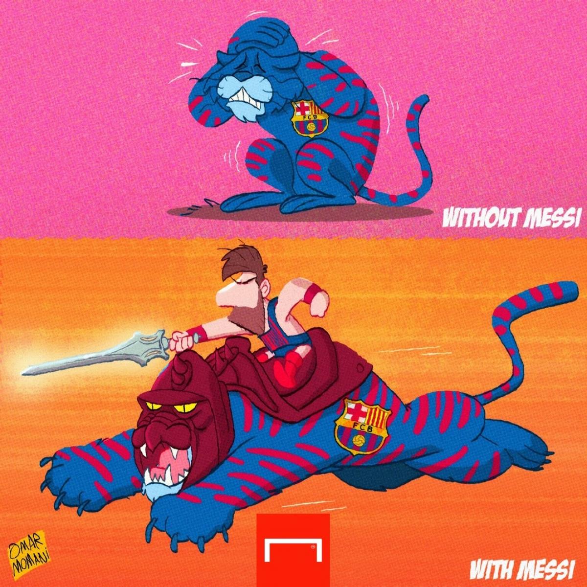 Sự khác biệt của Barca khi có Messi và không có Messi. (Ảnh: Omar Monani)./.