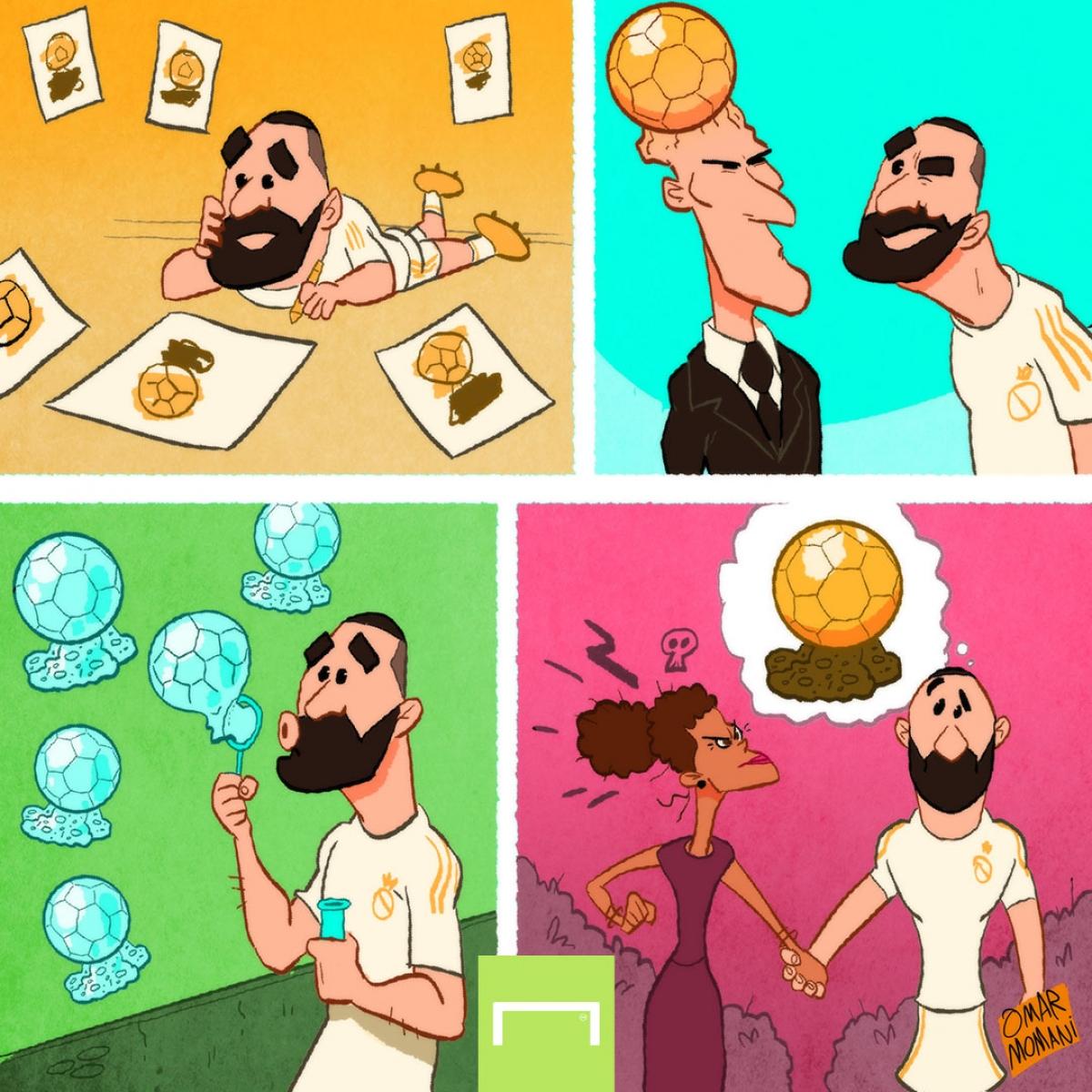 Benzema mơ về Quả bóng Vàng 2021 (Ảnh: Omar Momani)./.