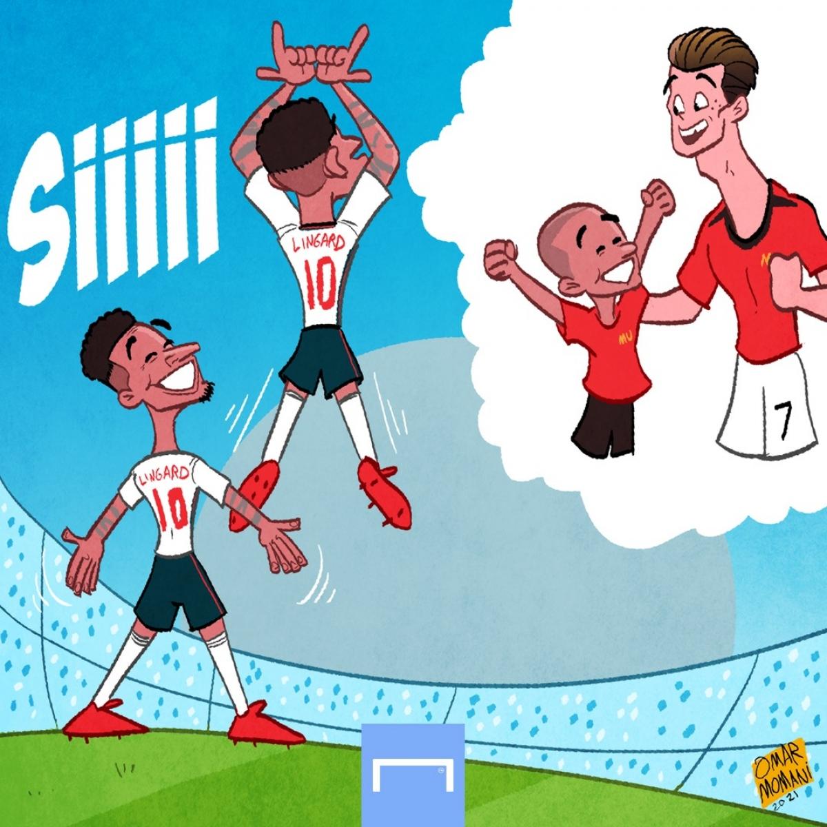 """Lingard """"sáng tạo"""" cách ăn mừng mới dựa trên cảm hứng Ronaldo. (Ảnh: GOAL)./."""