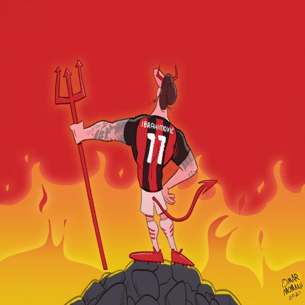 Ibrahimovic lại ghi bàn trong màu áo AC Milan. (Ảnh: Omar Momani).