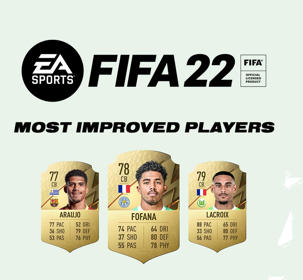Top 10 cầu thủ có bước phát triển thần tốc giữa 2 phiên bản FIFA 21 và FIFA 22 gồm: