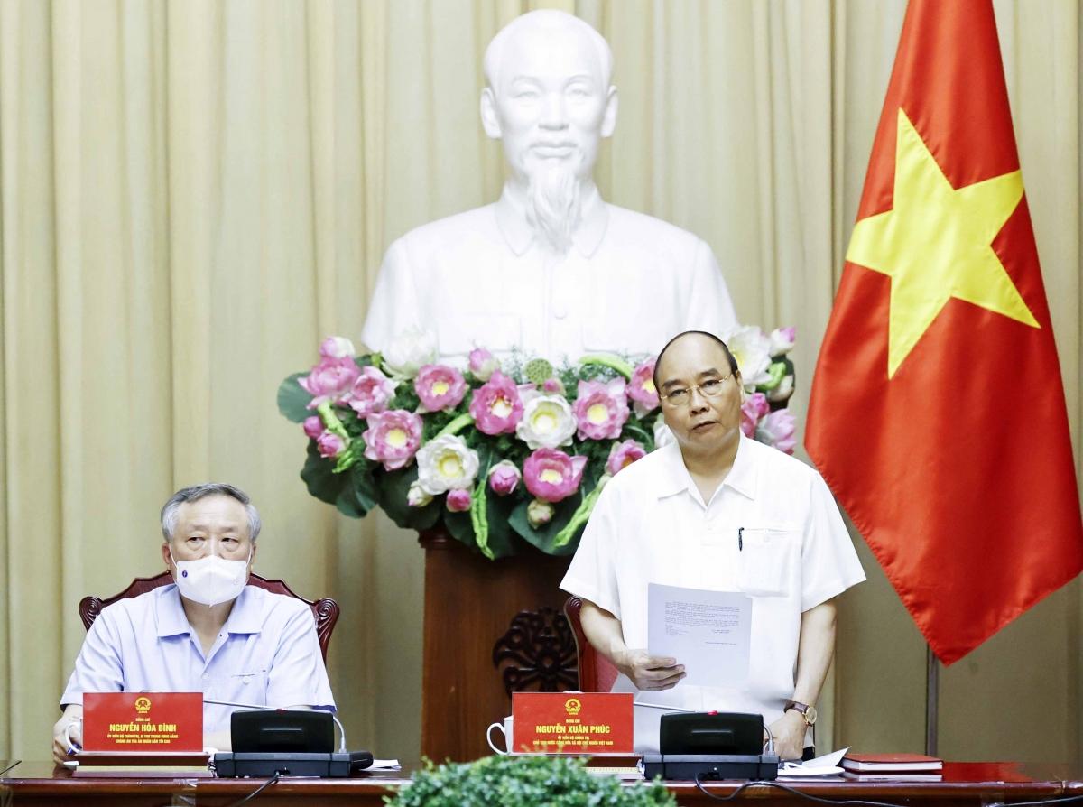 Chủ tịch nước Nguyễn Xuân Phúc phát biểu.