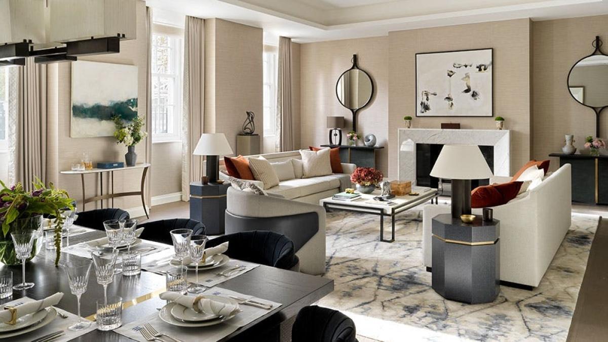 Phòng khách, phòng ăn được thiết kế mởtích hợp tự nhiên theo phong cách cổ điển