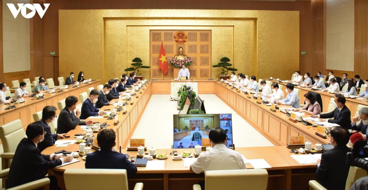 Toàn cảnh buổi làm việc của Thủ tướng với Đại sứ và các doanh nghiệp Hàn Quốc