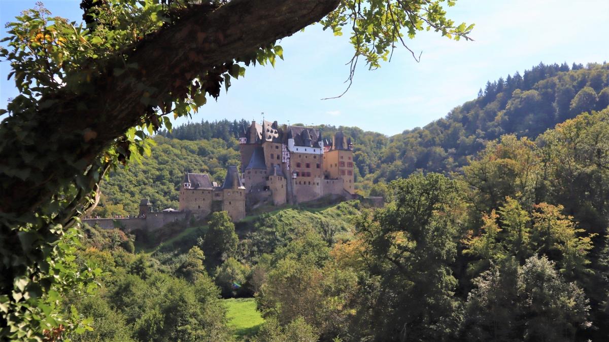 """Dòng họ và lâu đài Eltz được đặt tên theo dòng sông Eltzbach. Từ này có lẽ bắt nguồn từ tiếng Đức cổ """"Els"""" hoặc """"Else"""", cả hai đều là tên gọi của một loại cây thường được tìm thấy dọc theo các bờ sông. Lâu đài Eltz được xây dựng để đảm bảo tuyến đường thương mại Mosel-Maifeld-Eifel - một trong những tuyến đường quan trọng nhất, nối các vùng đất nông nghiệp trù phú và các khu chợ của Đế chế Đức. Ảnh:burg-eltz.de"""