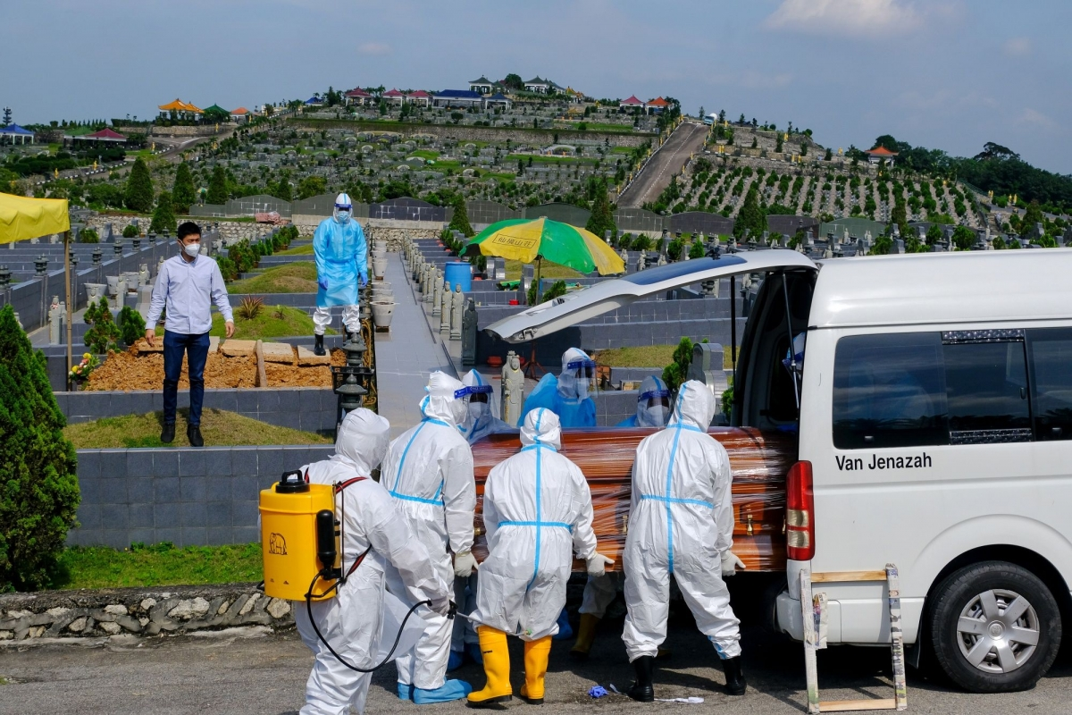 Chôn cất một bệnh nhân tử vong Covid-19 tại thị trấn Meru, bang Selangor, Malaysia. Ảnh: Bloomberg