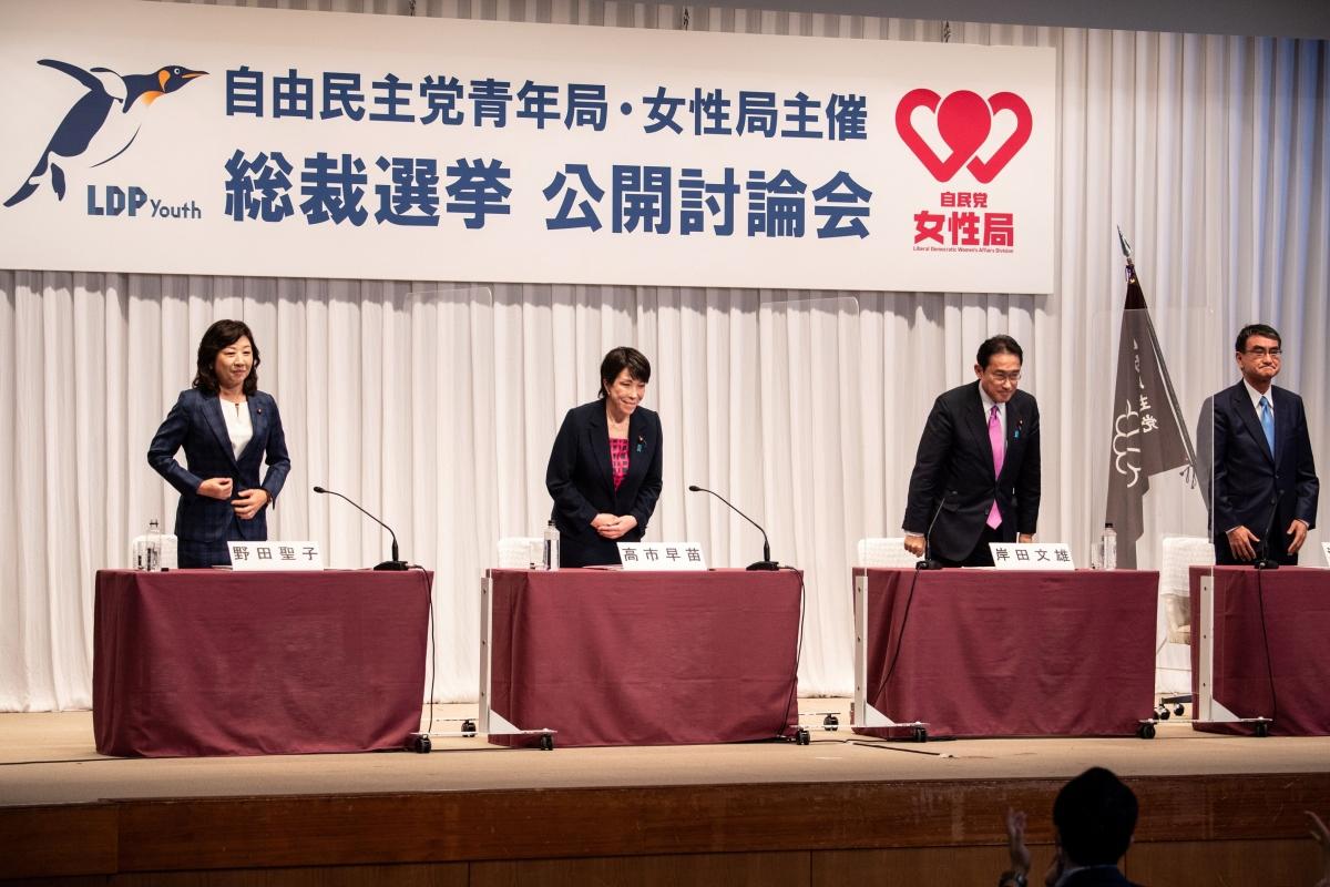 Các ứng cử viên Chủ tịch LDP trong cuộc tranh luận hôm 20/9. Các Nguồn: Reuters