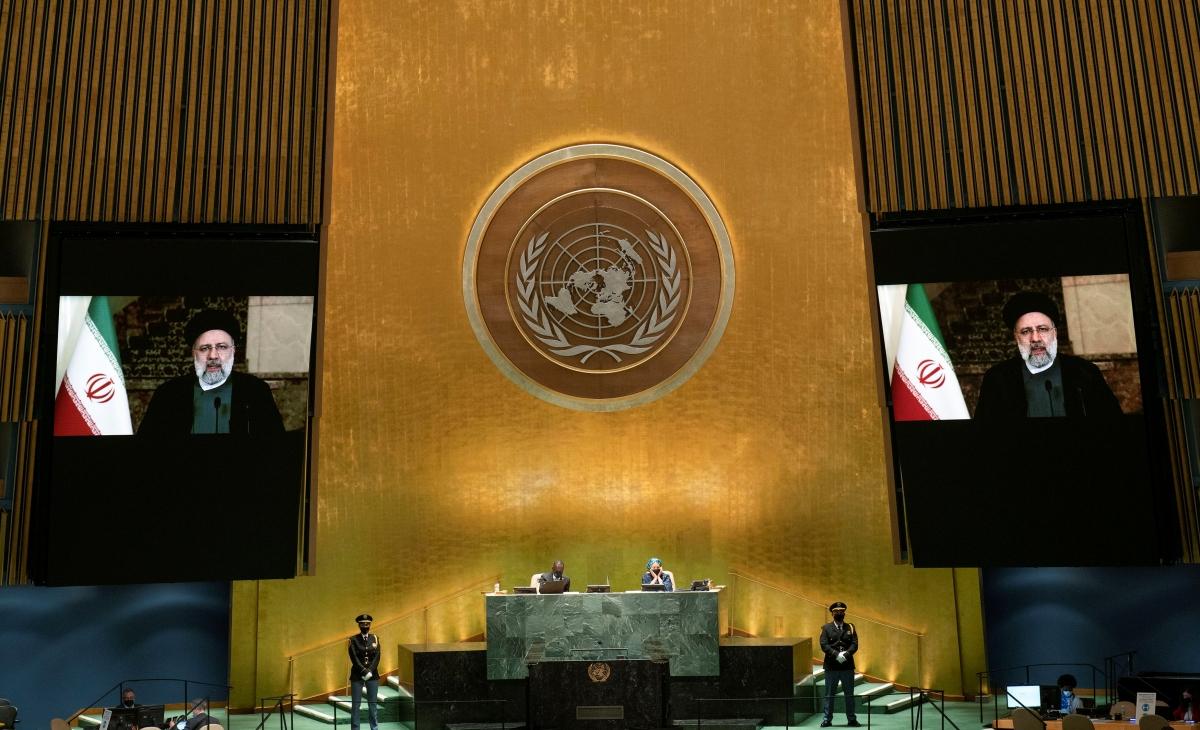 Tổng thống Iran - Ebrahim Raisi phát biểu trực tuyến tại khóa họp thứ 76 của Đại hội đồng Liên Hợp Quốc. Nguồn: Reuters
