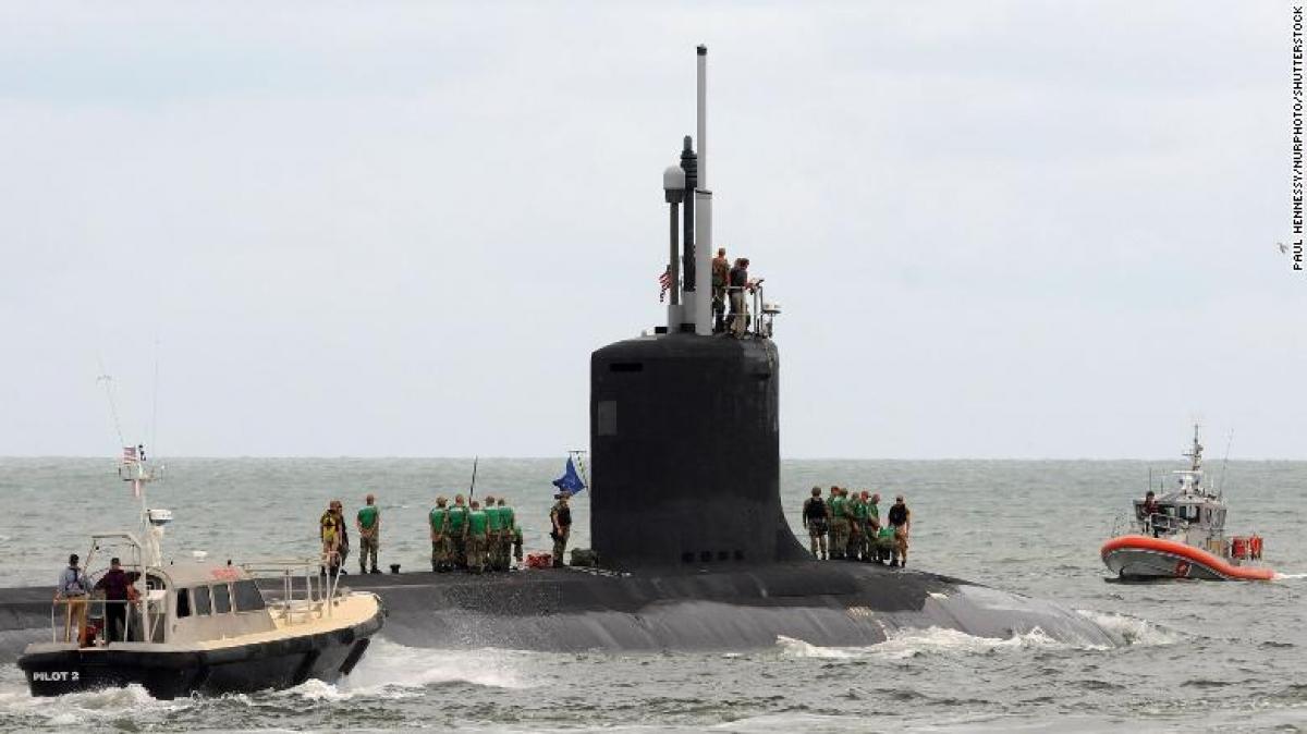 Tàu ngầm hạt nhân tấn công USS Indiana của Mỹ. Ảnh: CNN