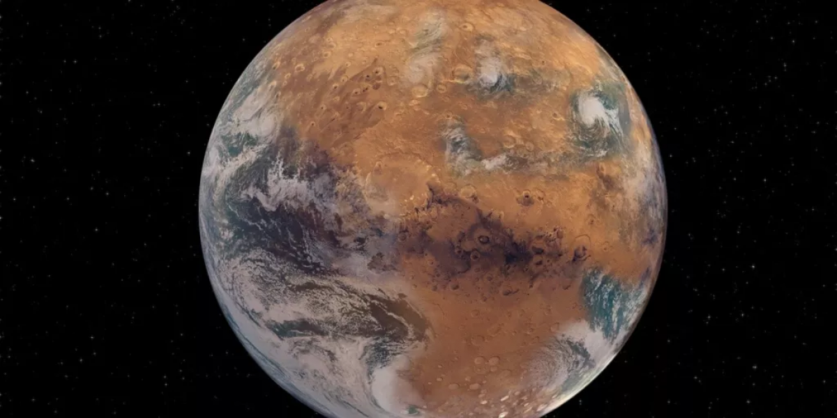 Ảnh minh họa về sao Hỏa với bề mặt có nước giống Trái Đất. Ảnh: NASA