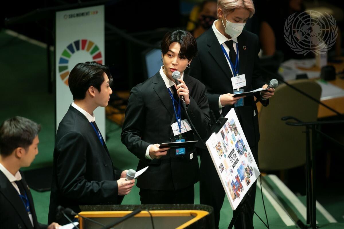 Các thành viên BTS phát biểu tại Hội nghị.
